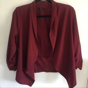 Burgundy 3/4 Sleeve Blazer